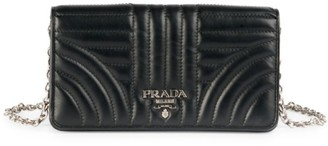 Prada Diagramme Impunture Leather Wallet-On-Chain