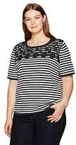 Alfred Dunner Women's Stripe Sweater with Lace Yoke