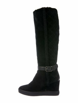 Aquatalia Quilted Pattern Suede Riding Boots Black
