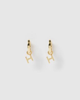 Izoa Alphabet Letter H Huggie Earrings Gold