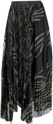 Sacai Two Tone Pleated Skirt