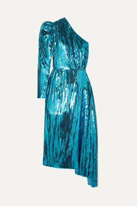 16Arlington One-shoulder Sequined Chiffon Midi Dress - Blue