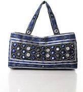 Moyna Blue Black Cotton Embroidered Beaded Small Shoulder Handbag