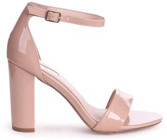 Linzi Nelly Nude Faux Patent Leather Suede Single Sole Block Heels