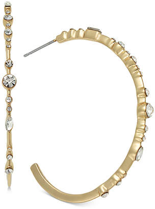 INC International Concepts Inc Gold-Tone Crystal Large Hoop Earrings