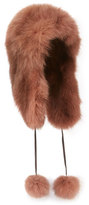 Pologeorgis Fox Fur Trapper Hat, Brown
