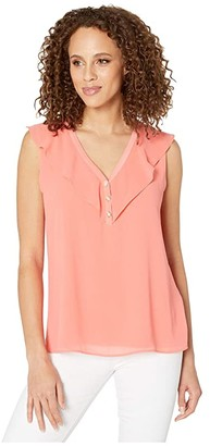 Calvin Klein Sleeveless Top with Chiffon Buttons (Porcelain Rose) Women's Clothing