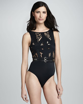 OYE Swimwear Elsa Lace One-Piece Swimsuit, Black