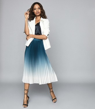 Reiss Mila - Ombre Pleated Midi Skirt in Teal