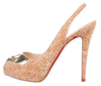 Christian Louboutin Cork Slingback Pumps