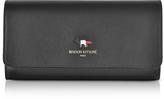 MAISON KITSUNÉ Black Leather Tricolor Continental Wallet
