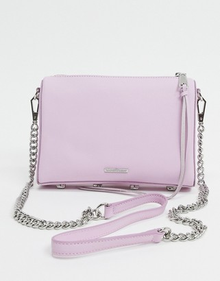 Rebecca Minkoff avery leather cross-body with chain strap in light pink