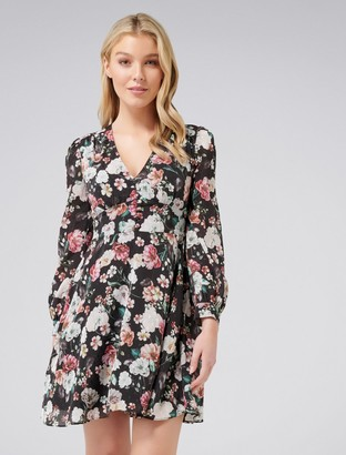 Forever New Emerson Printed Day dress - Black Rose - 14