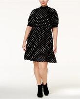 Rachel Roy Trendy Plus Size Polka-Dot Fit & Flare Dress