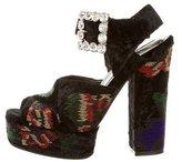 Roger Vivier Velvet Embellished Platform Sandals