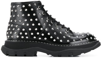 Alexander McQueen Studded Lace-Up Boots