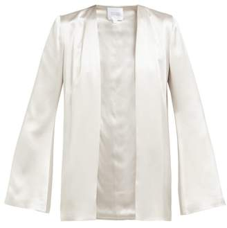 Galvan Collarless Satin Jacket - Womens - Silver