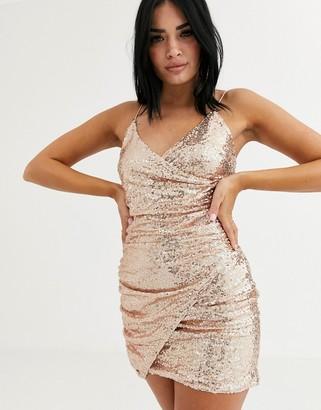 Club L London sequin wrap front asymmetric mini dress in rose gold-Pink