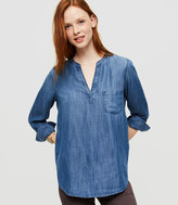 Lou & Grey Chambray Collarless Pop-On Tunic