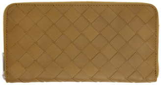 Bottega Veneta Khaki Intrecciato Zip Around Wallet