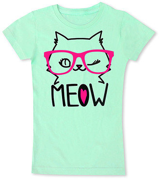 Micro Me Girls' Tee Shirts Mint - Mint Cat's 'Meow' Fitted Tee - Toddler & Girls