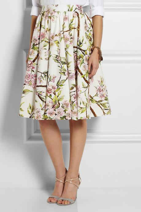 Dolce & Gabbana Floral-print cotton-poplin skirt