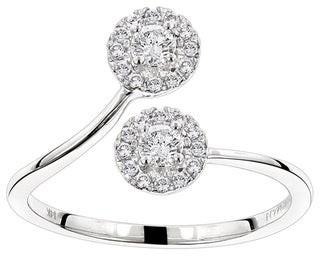 Luxurman 14k Gold 1/3ct TDW Diamond Halo Love and Friendship Ring