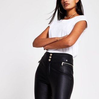 River Island Womens Black Coated Skinny Trousers