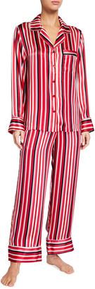 Neiman Marcus Striped Silk Pajama Set