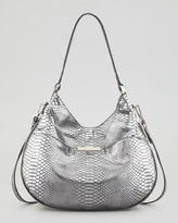 Milly Layne Snake-Embossed Leather Bucket Bag, Gray