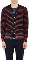 Sacai Men's Striped Drawstring-Hem Cotton-Cashmere Cardigan