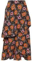 Marni Layered Floral-Print Crepe De Chine Midi Skirt