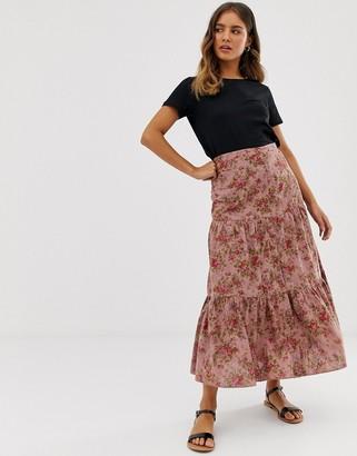 Asos Design DESIGN rose printed broderie tiered midi skirt-Multi
