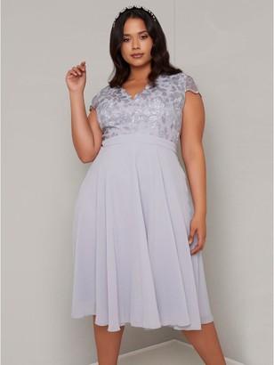 Chi Chi London Curve Nada Lace Top Dress - Blue