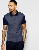 Asos Pique Muscle Polo With Contrast Sleeves & Embroidery In Navy