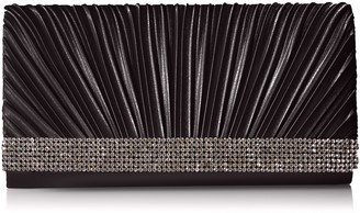 Jessica McClintock Chloe Satin Pleated Rhinestone Evening Clutch with Shoulder Chain