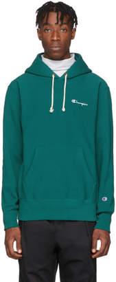 Champion Reverse Weave Green Small Script Logo Hoodie