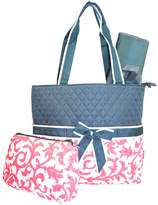 NGIL Quilted Diaper Bag 3-Piece Set, Floral Damask Print (Grey Pink)