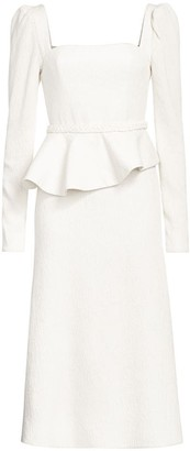 Johanna Ortiz Long-Sleeve Peplum Waist Crepe Midi A-Line Dress