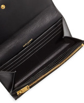 Saint Laurent Letters Continental Flap Wallet, Black