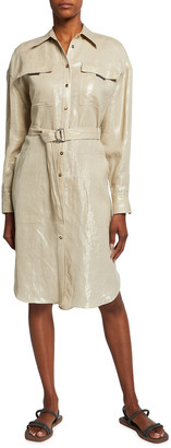 Brunello Cucinelli Linen Belted Shirtdress w/ Monili Trim