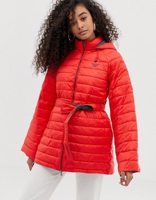 Emporio Armani quilted coat with contrast lining-Red