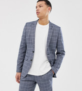 Asos DESIGN Tall slim suit jacket in linen blue check