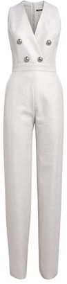 Balmain Lurex Button-Embellished Jumpsuit