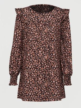 Very Frill Sleeve Tunic - Brown Print