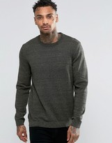 Asos Crew Neck Sweater in Khaki Twist Cotton
