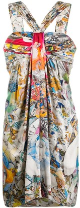 Versace Pre Owned Abstract Print Gathered Dress