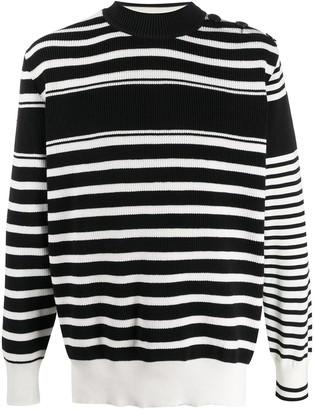 Sacai Knitted Striped Pattern Jumper