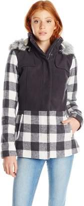Celebrity Pink Celebritypink CelebrityPink Juniors' Plaid Wool Coat with Hood