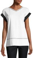 Lafayette 148 New York Short-Sleeve Contrast-Trim Punto Milano Top, White/Black, Plus Size